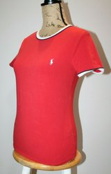 Ralph Lauren Sport Red Short Sleeve Cotton Knit Tee, Navy/Red Trim, Fitted, Medium in Westmont, Illinois