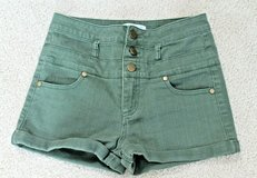 High Waisted Army Green Cuffed Shorts, by Love, Fire, Stretchy, Sz 1 in Glendale Heights, Illinois