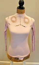 Forever 21 Blush Long Sleeve High Neck Bodysuit w/Lace Cutouts, Small/Medium in Westmont, Illinois