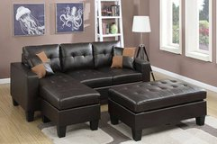 New! Leatherette Sectional +Ottoman FREE DELIVERY in Miramar, California