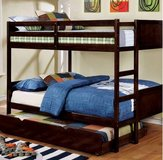 New! Wood Full/Full Espresso Bunk Bed (trundle optional) FREE DELIVERY in Camp Pendleton, California