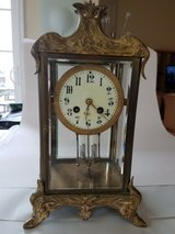 Antique Japy Freres art nouveau French brass and beveled glass regulator clock in Quantico, Virginia