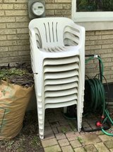 9 White Plastic / Polypropylene High-Back Chairs in St. Charles, Illinois