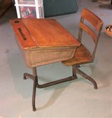 Antique Rare 1940's - 1950's School Desk & Chair - Metal & Wood - Adjustable Height in St. Charles, Illinois