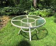 "48"" Patio Table with Glass Top - Frame Needs Paint in St. Charles, Illinois"