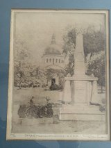 Don Swann etching of the USNA Chapel and Mexican Monument # 226 of 300 in Quantico, Virginia