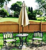 Wrought Iron Patio Table, 2 Chairs, Umbrella & Stand in Glendale Heights, Illinois