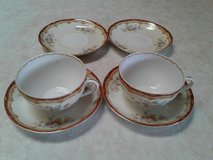 fine japan hira china cups and saucers with 2 additional saucers in Orland Park, Illinois