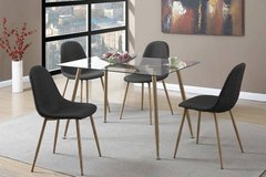 New! Glass Dining Table and 4 Black Chairs FREE DELIVERY in Camp Pendleton, California