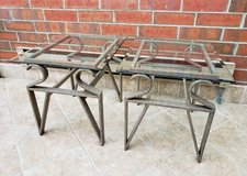 Set of 2 Modern Glass and Metal End Tables in Aurora, Illinois