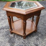HEXAGON END TABLE WITH GLASS TOP & SHELF in Plainfield, Illinois