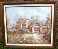 Vintage Framed Art - Oil on Canvas ~ Cottage in the Woods in Chicago, Illinois