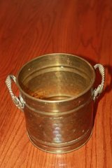 Vintage Hammered Copper Planter or Jardiniere with Lion Mask Handles in Houston, Texas