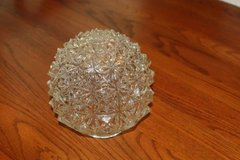 Vintage Crystal Clear Diamond Cut Glass Ball Hanging Light Fixture Glo in Houston, Texas