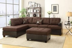 New! Chocolate Brown Linen Sectional + Ottoman FREE DELIVERY in Vista, California