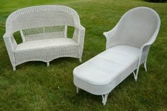 White Wicker Furniture - Love Seat and Chaise in Batavia, Illinois