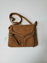 nwt violet ray nyc magnetic flap crossbody purse * camel in Westmont, Illinois
