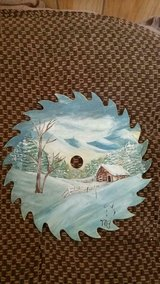 "Handpainted Saw Blade w/ Snowy Christmas Scene! 7 1/4"" Signed by Artist in Kingwood, Texas"