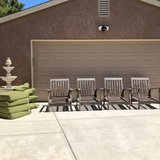 Set of 4 Solid Wood (Teak?) Patio Chairs with Sunbrella Cushions in Travis AFB, California