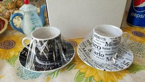 (2)   Souvenir Monte Carlo Small Cup and Saucer Sets!  4pcs in Kingwood, Texas