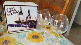 TIPSY WINE GLASSES!  Set of 2 in original box in Kingwood, Texas