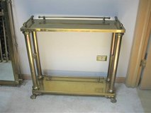 High Quality Brass & Glass Wall Table with Matching Mirror in St. Charles, Illinois