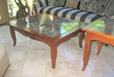 Wood, Glass & Wrought Iron Coffee Table in St. Charles, Illinois