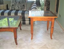 Wood, Glass & Wrought Iron End Table in St. Charles, Illinois