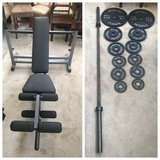 Body-Solid PowerCenter Rack Bench Combo + 185lbs Barbell Olympic plate in Joliet, Illinois