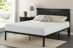Faux Leather Classic Platform Bed Frame Queen Size - New! in Joliet, Illinois