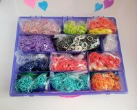 ORGANIZER CONTAINER FILLED WITH 1,000's OF RAINBOW LOOM BANDS & CLIPS in Bolingbrook, Illinois