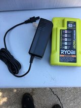 new ryobi 40-volt 40v li-ion replacement spare battery charger w/ usb port op403 AND MANUAL in Glendale Heights, Illinois