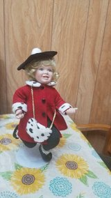 "15"" Beautiful Bisque / Porcelain Doll with Red Coat Has Black and White Spotted purse in Bellaire, Texas"