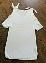 Chico's White Tunic V-Neck Short Sleeve Knit Sweater, Cut-Out Sleeves, Large in Joliet, Illinois