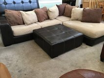 2pc Brown Leather Base Pillow Back Upholstered Sectional Sofa + Ottoma in Joliet, Illinois