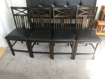 4 Brown Wooden back Leather Seat Chairs in Joliet, Illinois