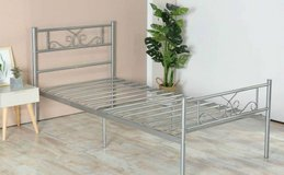 Twin Size Silver Platform Bed Bedframe - New! in Naperville, Illinois