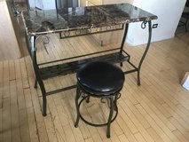 Brown Faux Marble Top Wine Bar with Steel Frame +  Stool in Joliet, Illinois