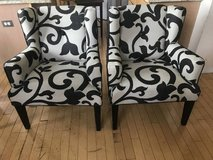 2 Black and White Upholstered Accent Chairs in Joliet, Illinois