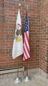 2 Wood Flag Poles with Bases, American and Illinois Flags in Chicago, Illinois