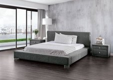 New Queen Grey Fabric Modern Low Profile Bed FREE DELIVERY in Camp Pendleton, California