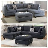 New! Black Linen Gray Sectional + Ottoman FREE DELIVERY in Camp Pendleton, California