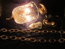 WATERFORD CRYSTAL Glass & Brass Pendant Hanging Light Fixture VINT NEW in Chicago, Illinois