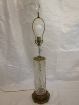 CRYSTAL Glass Brass Lamp Flower Cuts Crystal Finial Filigree ANTIQUE in Naperville, Illinois