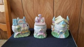 "3 Ceramic Decorative Easter Bunny Houses!  Bunnies on Rooftops  cute 5""h x 4""w in Kingwood, Texas"