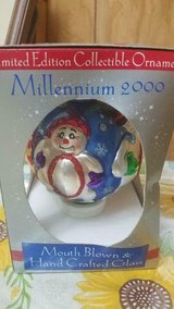 Large SNOWMAN Millennium 2000 Mouth Blown & Hand Crafted Glass Ornament! in Kingwood, Texas