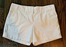 J.Crew City Fit White Cotton Shorts, Chino, Classic Twill, Flat Front, Size 12 in Aurora, Illinois