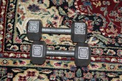 Two 15 LB Steel Dumbbells barbell Weights in Kingwood, Texas