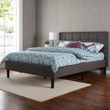 Twin Size Upholstered Square Stitched Platform Bed Mattress Foundation in Naperville, Illinois