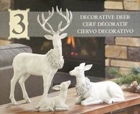 Holiday Christmas Table Top Decorative Deer Family Set Of 3 in Bolingbrook, Illinois